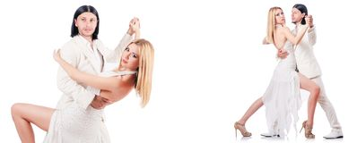 The pair dancing dances isolated on white Stock Image