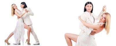 The pair dancing dances isolated on white Royalty Free Stock Photos