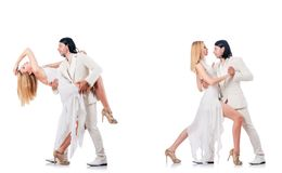 The pair dancing dances isolated on white Stock Photo