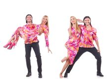 The pair dancing isolated on the white Royalty Free Stock Photography