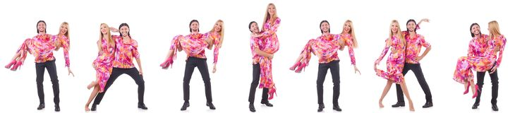 The pair dancing isolated on the white Stock Images