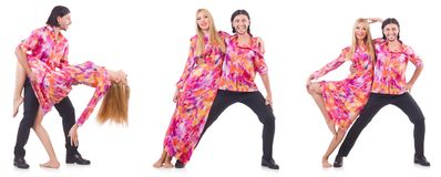 The pair dancing isolated on the white Royalty Free Stock Images
