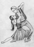 Pair dancing tango. Hand drawn pencil sketch of a pair dancing tango Royalty Free Stock Image
