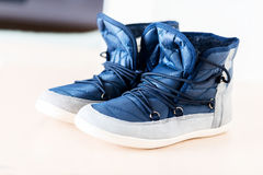 Pair of dark blue boots Royalty Free Stock Photos
