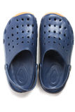 Pair of dark blue clogs shoes Royalty Free Stock Image