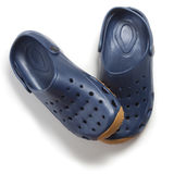 Pair of dark blue clogs shoes Stock Images