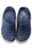Pair of dark blue clogs shoes Stock Image