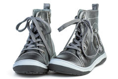 Pair of dark-gray leather boots Stock Photo
