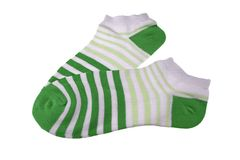 Pair Dark Green, Light Green and White Striped Ladies Socks Royalty Free Stock Images