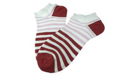 Pair Dark Red and White Striped Ladies Socks Stock Photography