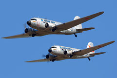 Pair DC-3 shown at MAKS-2015 airshow in Zhukovsky. ZHUKOVSKY, MOSCOW REGION, RUSSIA - AUGUST 20, 2015: Pair DC-3 shown at MAKS-2015 airshow in Zhukovsky Royalty Free Stock Photography