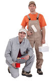 Pair of decorators. Ready to get the job done stock image
