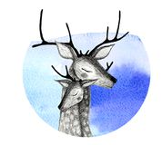 A pair of deer on a watercolor background. Pencil drawing deers mom and baby on a watercolor background Royalty Free Stock Photo