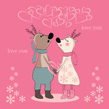 Pair of deers at Valentines day. Royalty Free Stock Photography