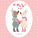 Pair of deers at Valentines day. Stock Image