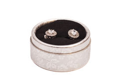 Pair of diamond crystal earrings in  silver box Stock Photo