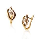 Pair of diamond earrings Stock Photography