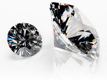 Pair of diamonds (no catchlight). Two high quality brilliant cut clear diamonds.  Clipping path included. Photorealistic 3D rendering with HDR lighting. This Royalty Free Stock Photo