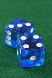 Pair of dice. Pair of clear blue dice Stock Photo