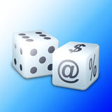 Pair of dice. A pair of black and white dice with symbols and dots Royalty Free Illustration