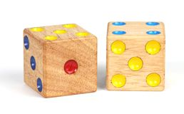 A pair of dice. A pair of wooden throwing dice royalty free stock images