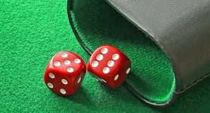 Pair dice shaker six five gaming game board backgammon stock photography