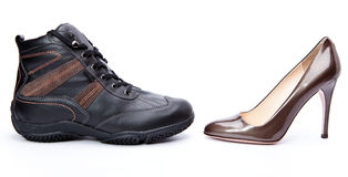 Pair of different footwear Stock Image