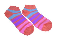 Pair of Different Sport Striped Ladies Socks Royalty Free Stock Photo