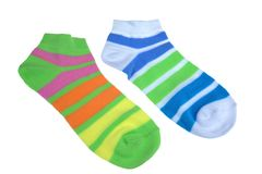 Pair of Different Sport Striped Ladies Socks Stock Photo