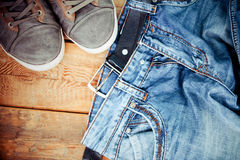 Pair of dirty jeans thrown Stock Photo