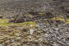 Disused pit head wheels. A pair of disused pit head wheels lie on the ground next to an old shaft on the side of Moelwyn Mawr. The shaft sits above Croesor Slate Royalty Free Stock Photography