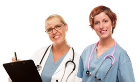 Pair of Doctors or Nurses on a White Background Stock Images