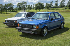 Pair of dodge omni glh. Picture of blue and white dodge omni glh in display during the granby international 28-30 july 2017 royalty free stock photo