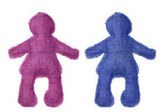 Pair of dolls in colors. Representing a couple: friends, boyfriends, husbands and wives; pink and blue Royalty Free Stock Image