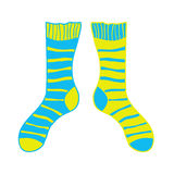 Pair of doodle socks isolated on white background. Clothing, accessory. Royalty Free Stock Photos