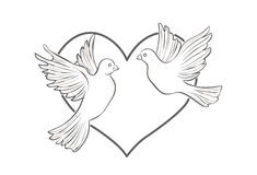 A pair of doves on heart background. Vector illustration Royalty Free Stock Photography