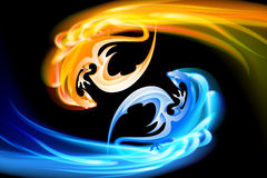 The pair of dragons turning in the sky Stock Photos