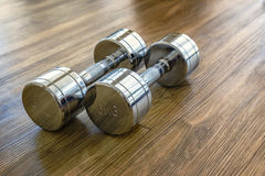 Pair of Dumbells in a Sport Fitness Room Stock Image