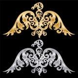 Pair of eagle silhouettes. Pair of eagle silhouettes on black background. Vector illustration Stock Images