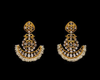 Pair of Earrings with diamonds Stock Image
