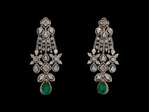 Pair of Earrings with diamonds Stock Images