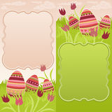 Pair of easter frame with painted eggs. Pair of easter cards featuring decorated eggs on a flowery meadow Royalty Free Stock Images