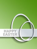 Pair of egg shapes next to Happy Easter label Royalty Free Stock Images