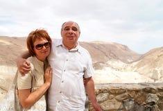 Pair of elderly travelers royalty free stock photo