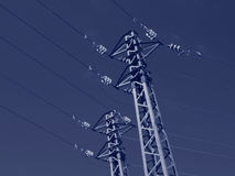 Pair of Electric Pole in Duotone blue color Stock Photos