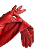 A pair of elegant womens leather gloves. Dressed in his hands Royalty Free Stock Photo