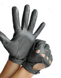 A pair of elegant womens leather gloves. Dressed in his hands Stock Image