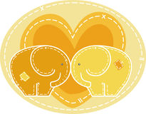 Pair of elephants very enamored. Pair of fabric elephants very enamored within a great heart vector illustration