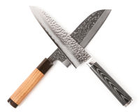 Pair of expensive japanese knifes. Isolated on white background Royalty Free Stock Image