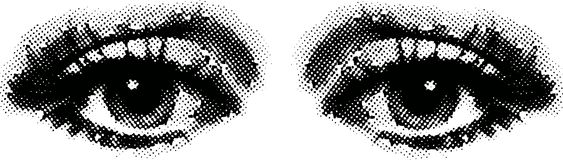 A pair of eyes. In big raster points. Useful for many kinds of advertising, print and web. Also available as Illustrator-file Stock Photos